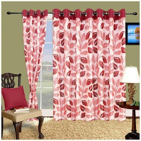Cortina Polyester Long Door Semi Transparent Maroon Regular Curtain ( Eyelet Closure , Floral )