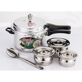 Mahavir Induction Pressure Cooker & Baby Cookware Set With Serving Spoon (Set of 5)