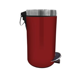 Hmsteels Stainless Steel Pedal Dustbin Plain With Red Color 20 X33 Cm With Free Plastic Bucket Inside