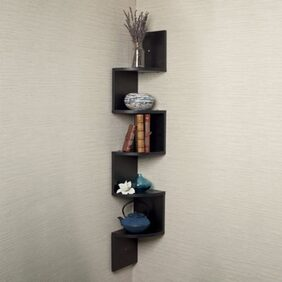 DecorNation Wall Mount Corner Shelf Zigzag Shape - Black