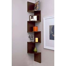 DecorNation Wall Mount Corner Shelf Zigzag Shape - Walnut