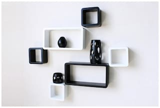 DecorNation Wall Shelves Set Of 6 Cube And Rectangle Shelves Storage And  Display-White