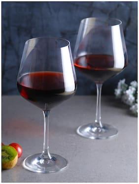 Bohemia Crystal Wine Glass set, Non Lead Crystal Sandra Wine Glass (570 ml) set of  6 Pcs