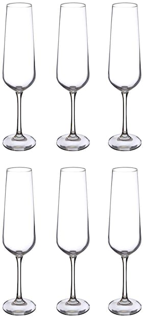 Bohemia Crystal Champange Glass set, Non Lead Crystal Sandra Champagne Flute (200 ml) set of 6 pcs