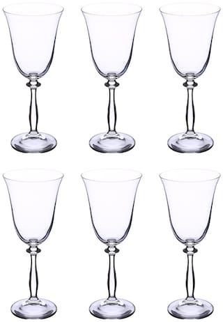 Bohemia Crystal Wine Glass set, Non Lead Crystal Angela Wine Glass (250 ml) set of 6 pcs