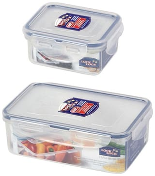 Lock & Lock 2 Containers Plastic Lunch Box - Transparent