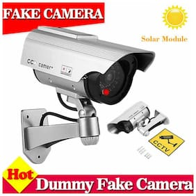 1/2/4X Fake Dummy Camera Solar Power Outdoor Security CCTV With LED Black Silver