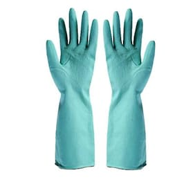 1 Pair (2 Pcs) Reusable Pure Latex Rubber Hand Gloves for Household/Kitchen/Washing/Cleaning, Random color, Medium Size, Total Weight 50gms