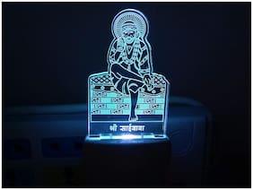 1 pc LED Acrylic Sai Baba Plug in Night Lamp Color Changing LED Night Light Plug Night Light Decoration for Bedroom/Corridor/Living Room/Shrine/Temple/Festivals Night Lamp