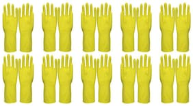 10 Pairs (20 Pcs) Reusable Pure Latex Rubber Hand Gloves For Household/Kitchen/Washing/Cleaning, Large Size