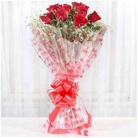 Ferns N Petals 10 Red Roses Exotic Bouquet|Valentines Gift