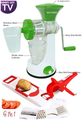 100% ABS 6in 1 Slicer & Shredder 2 in 1 Veg Cutter Hand Juicer with Waste Collector and Stainless Steel Mash by MACARIZE