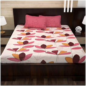 Story@Home Cotton Floral Double Size Bedsheet 152 TC ( 1 Bedsheet With 2 Pillow Covers , Pink )