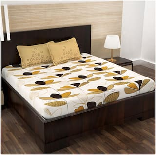 Story@Home Cotton Floral Double Size Bedsheet 152 TC ( 1 Bedsheet With 2 Pillow Covers , Beige )