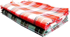 100% Cotton Super Absorbent Multi-Color Checks, Light Weight, Big Size 2 Bath Towels (29X59 inch_Multi)