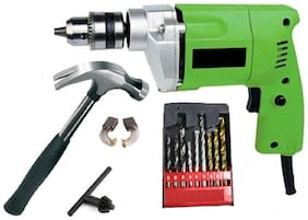 10mm Drill Machine With Hammer & Drill Bits For Wall;Wood & Iron Sizes 5mm;6mm & 8mm Each