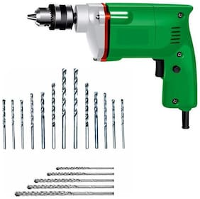 Powerful 10MM Drill Machine With 13pcs hss (wood/metal) + 5 pcs Masnory (wall) Drill Bits Set