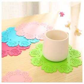 10pcs Hollow Out Rose Flower Silicone Table Cup Bowl Mat Heat Insulation Pad