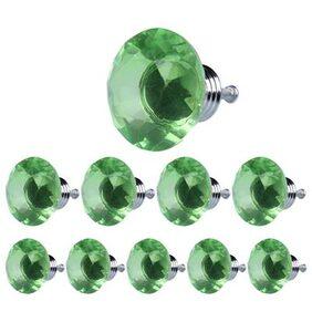10X 40mm Diamond Shape Crystal Glass Drawer Cabinet Pull Handle Knob Green