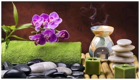 35.56 cm (14 inch) x 55.88 cm (22 inch) framed spa candles stones home decor painting on 5 mm sunboard