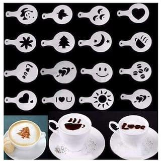 16pcs/set Coffee Milk Cake Cupcake Stencil Template Mold Coffee Barista Cappuccino Template Strew Pad Duster Spray Tools