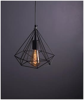 1Light Round Cluster Chandelier Black Diamond Hanging Pendant Light with Braided Cord, LED FILAMENT Bulbs not included