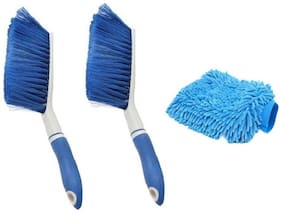 2 Carpet Brush Microfibre Wet and Dry Brush with Microfiber Glove