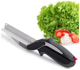 2 in 1 Kitchen Knife & Cutting Board Scissors Stainless Steel Kitchen Food Cutter for Meat Vegetable (Pack of 1) Black Color