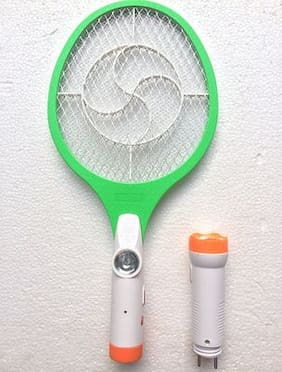 2 IN 1 RECHARGEABLE MOSQUITO/INSECT RACKET BAT WITH DETACHABLE LED TORCH Assorted colour and Design