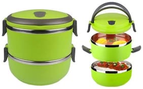 2 Layer lunch box 2 Containers Lunch Box (1Pc) Multi Color