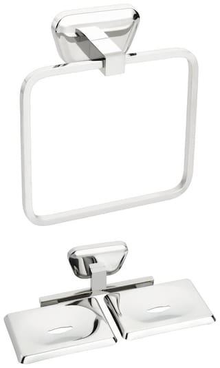 2 pcs Bathroom Accessories(1-Towel Ring,1-Double Soap Dish)-Briza Series