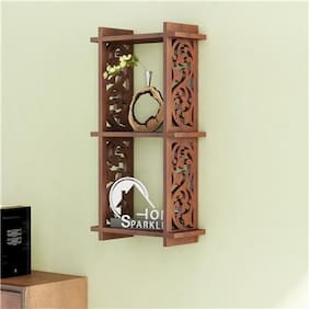 2 Pocket Carved Wall Shelf