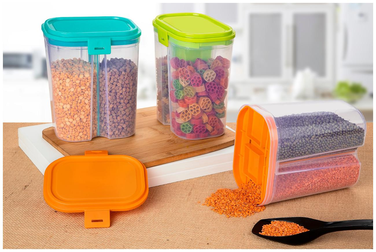 22Mech 2 Sections Air Tight Transparent Food Plastic Storage Container for Kitchen;Grain;Cereal  2000 ml Each