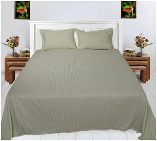 Spangle Satin Striped King Size Bedsheet 280 TC ( 1 Bedsheet With 2 Pillow Covers , Grey )