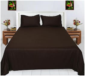 Spangle Satin Striped King Size Bedsheet 280 TC ( 1 Bedsheet With 2 Pillow Covers , Brown )