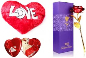 24K GOLD PLATED RED ROSE AND HEART SHAPE SOFT LOVE PILLOW 18 inch AND TEDDY (6 inch) CUSHION VALENTINE'S DAY GIFT FOR YOUR LOVE BEST GIFT FOR LOVE ONES