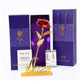 24K gold plated golden Red rose with love stand and with unique gift box - best gift for love ones