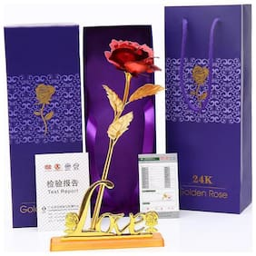 24K red Rose Flower with love stand Golden Dipped Valentine's Day With Box Unique Gift/friendship day gift