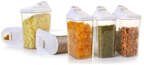 2Mech 750 ml Transparent & White Plastic Container Set - Set of 6