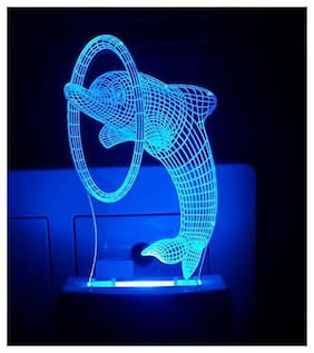 2Mech Dolphin Shark Acrylic Colour Changing 3D Illusion LED Night Lamp (Multicolour)