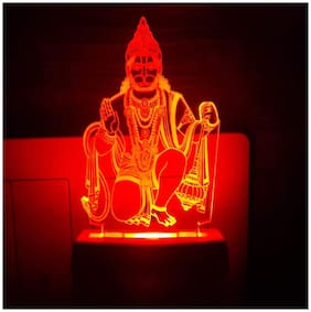 2Mech Lord Hanumanji Acrylic Colour Changing 3D Illusion LED Night Lamp (Multicolour)