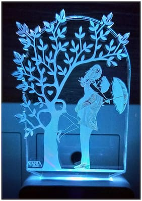 2Mech Love couple with Tree Umbrella Acrylic Colour Changing 3D Illusion LED Night Lamp (Multicolour)
