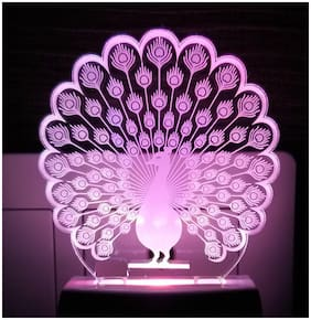 2Mech Peacock Acrylic Colour Changing 3D Illusion LED Night Lamp (Multicolour) [ Set of 1]
