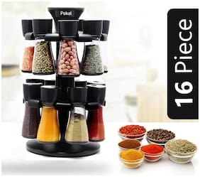 2Mech Revolving Spice Rack;Spice Container;Masala Box;Spice Box;Masala Rack - 120 ml Plastic Spice Container (Black;16 in 1)