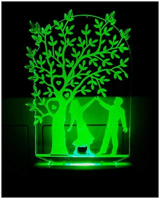 2Mech Romantic couple with tree Acrylic Colour Changing 3D Illusion LED Night Lamp (Multicolour)