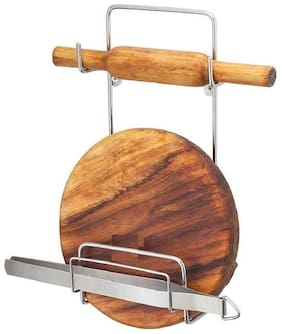 2Mech Stainless Steel Rolling Board & Pin Holder, Chakla Patla Belan Stand for Kitchen (Only stand)