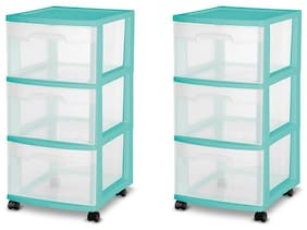 3 Drawer Medium Cart Storage Boxes Set of 2 Home Organizer Plastic Cabinet Room