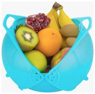 3 in 1 Basket for Fruits, Vegetable Rice Washing, Water Strainer. Made from high Quality Plastic ( Multicolor )