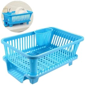 3 in 1 Large Multi-Function Sink Set Water Draining Dish Rack Drainer Tray for Kitchen Washing Basket with Removable Tray (Color May Vary) 1Pc
