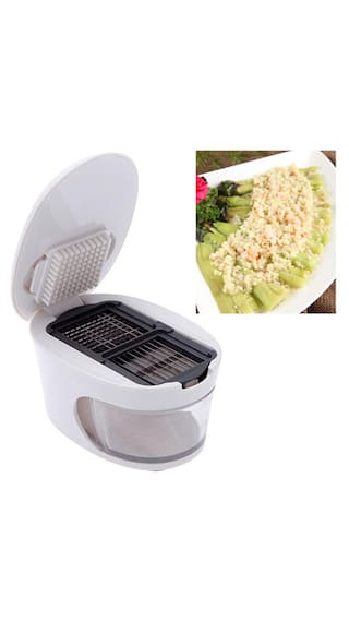 3 in 1 Plastic Garlic Press Crusher Slicer Grater Dicing Slicing & Storage Tool